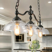 Lnc 3-light Linear Chandeliers Kitchen Light Fixture With Glass Shades