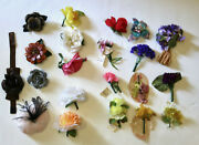 Lot Set Of Vintage Floral Flower Brooch Pins Hair Clips Etc Feathers Leather