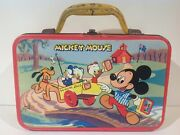 1957 Mickey Mouse Yellow Handle Vintage Metal Lunch Box From Australia Rare
