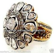 3.49cts Genuine Rose Antique Cut Diamond Silver Victorian Cocktails Ring Jewelry