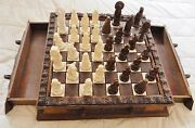Vintage Hand Crafted Mexico Chess Set Wood Tiles Resin Pull Out Drawers 1717x3