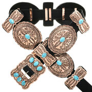 Navajo Hand Hammered Turquoise Copper Concho Belt By Emerson