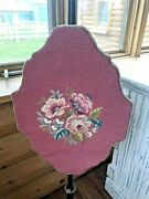 Antique Vintage Victorian Pole Fire Screen Tapestry Needlepoint
