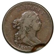 1807 C-1 Indented Strike Draped Bust Half Cent Coin 1/2c