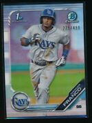 Wander Franco 2019 1st Bowman Chrome Refractor /499 Tampa Bay Rays Rookie Rc