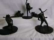 Maitland Smith Figural Frog Bronze Scupture Yoga Lot Of 5