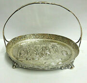 Derby Sp Co Silver Plt Ftd Basket Repousse Scene Sz 6.50 In Long Hdle 5 In Tall