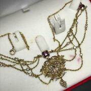 Antique Victorian Art Nouveau Gold Seed Pearls Amethyst Swag Necklace