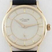 Lecoultre Vintage 14k Yellow Gold Automatic Watch W/ Leather Band Ref P812