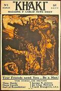 Reduced 94 Khaki Magazine And Cabled News Sheet 1915 Wwi Lb Poster- Be A Man