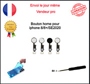 Nappe Bouton Home Complet Iphone 8 8plus 8+ Se2020 Blanc Noir Rose Gold Or