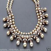 8.53cts Rose Antique Cut Diamond Pearl Silver Victorian Wedding Necklace Jewelry