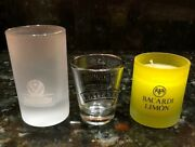 Lot Of 3 Shot Glasses - Jagermeister Frosted/bailey's/bacardi Limon Candle