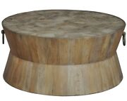 38 Dia. Dorotea Coffee Table Parquet Pattern Top Hand Crafted Old Wood Rustic