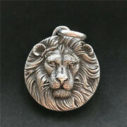Antique Chinese 925 Sterling Silver Lions Elephants Necklace Pendant Jewelry