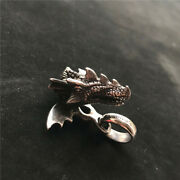 Antique Chinese 925 Sterling Silver Dragon Head Necklace Pendant Jewelry