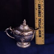 Vintage Corbell And Co Silver Plate Hinged Salt Cellar + Cobalt Blue Glass And Spoon
