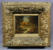 19th Century Barbizon School Painting Lake And Woods Possibly By Karl Daubigny