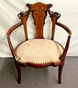 Vintage Hand Carved Chair. Inlays Of Woods And M-of-p. Brass Tacks Edge Seat 1930