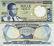 Congo 1000 Francs Banknote World Paper Money Xf Currency Pick P8 1964 Star Punch