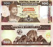Swaziland 100 Emalangeni Banknote World Paper Money Unc Currency Pick P33 2004