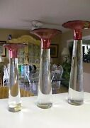 Three 1960's Large Cenedese Vetri Murano Sommerso Glass Candle Holders