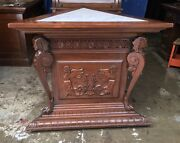 19th C. Walnut Egyptian Revival Carved Marble Top Pedestal