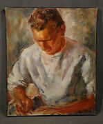 Vintage American Painting Handsome Young Sexy Boy Seating Writting Fashion