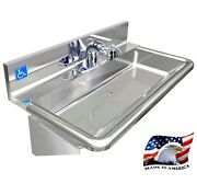 Ada Hand Sink 30 Made In Usa Stainless Steel No Lead Electronic Sloan Faucet