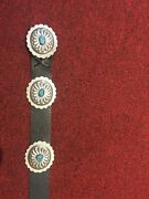 American Indian Belt With Hand Carved Concho Sliders