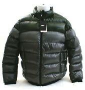 Dkny Donna Karen Gray And Green Zip Front Down Filled Puffer Jacket Men's Nwt