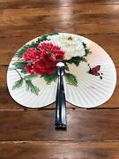 Vintage Chinese Paper Fan 10 Flowers And Butterfly