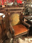 Antique Moroccan Chair Inlaid Upholstered Hand Carved