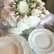 New Gien Rocaille Ivory Dinnerware / 38 Pieces