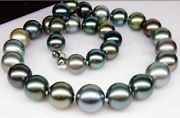 Huge 18 15mm Natural South Sea Genuine Black Peacock Blue Round Pearl Necklace