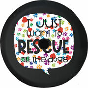 Jl Spare Tire Cover Rescue Dogs Love Heart Paws W/ Backup Camera Hole