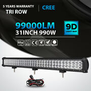 Tri Row 30inch 990w Led Light Bar Combo Offroad For Jeep Truck Vs 31 32 36