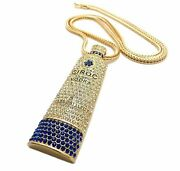 Hip Hop Iced Gold Ciroc Vodka Bottle Pendant And 4mm/36 Franco Chain Necklace