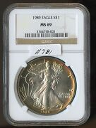 1989 Silver Eagle 981 Ngc Ms69. Beautiful Toning. Check Out The Photos.