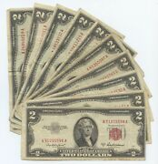 1953 Series 2 Us Notes. Ten Mixed Pcs. Vg Or Better Mostly Fine 1874