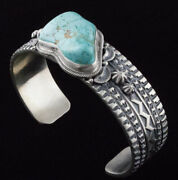 Old Style Natural 8 Turquoise Bracelet By Navajo Artist Jereme Delgarito