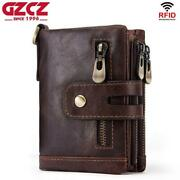 Menand039s Genuine Leather Cowhide Wallet Trifold Card Id Holder Double Zipper Purse