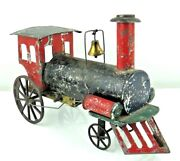 Vintage 1890and039s Large Ives Clockwork Victor Tin Hand Painted Train