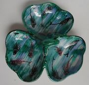 Italian Art Pottery 3 Divided Bowls Clover Shaped Serving Tray With Handle H.58