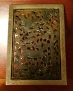 Antique Chinese Jade Bronze Bookend Or Table Screen Hand-carved 19 Century