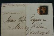 Q. V. Penny Black Plate 4 On Cover With Scottish Large Centre Orange Red Mx