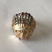 Diamond Red And Blue Stone Indian Head Ring 14k Yellow Gold 10.5 G Size 13.5