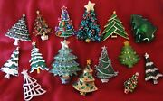 15 Vintage Christmas Tree Pins Including And Plastic