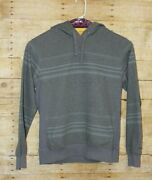 Nixon Grey Striped Menand039s Size M Pullover Drawstring Hooded Sweater