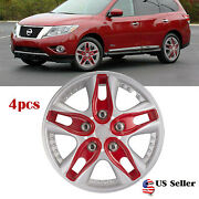 4pcs 12 Inch Hub Cap Abs Rim Wheel Cover Center Caps Covers Red Silver Us Stock